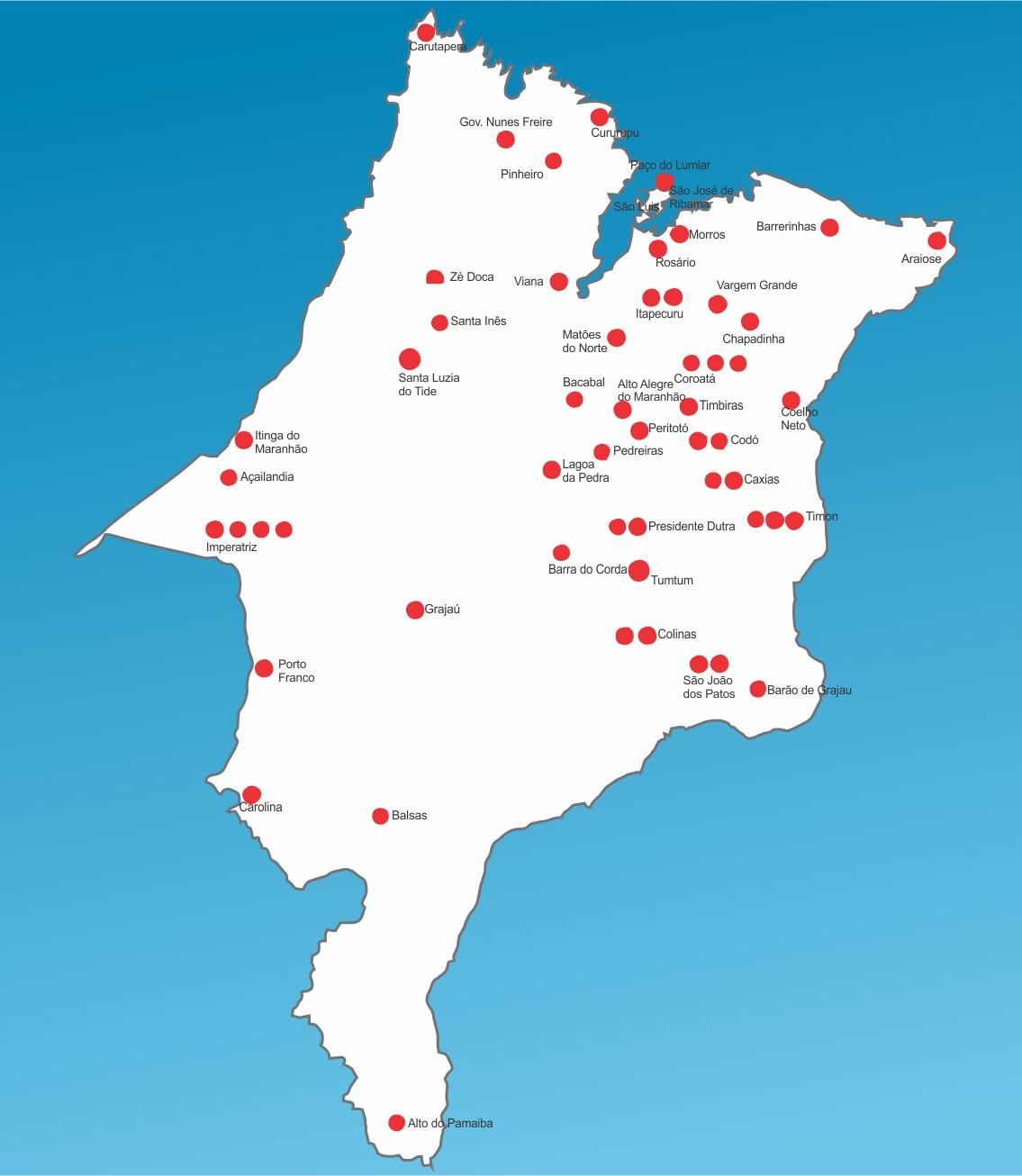 Mapa das unidades de saúde do maranhão